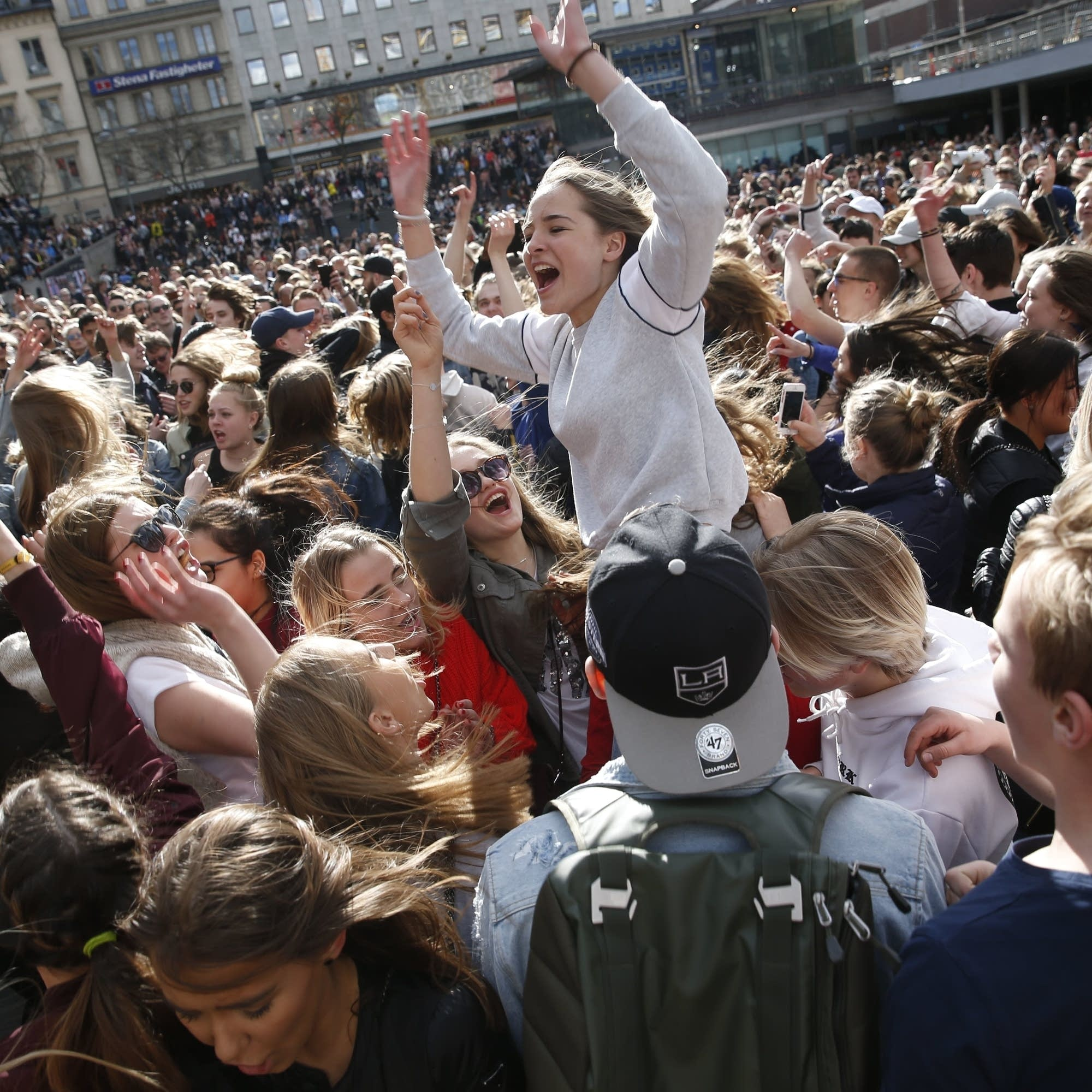 Avicii fans at a memorial dance party.