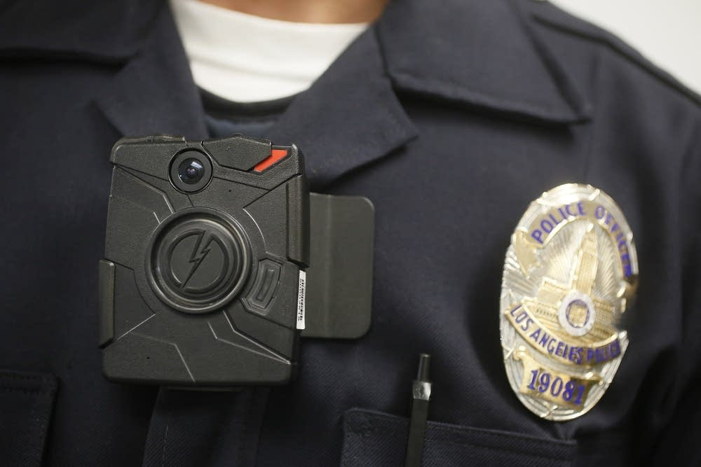 A Los Angeles Police officer wearing a body camera