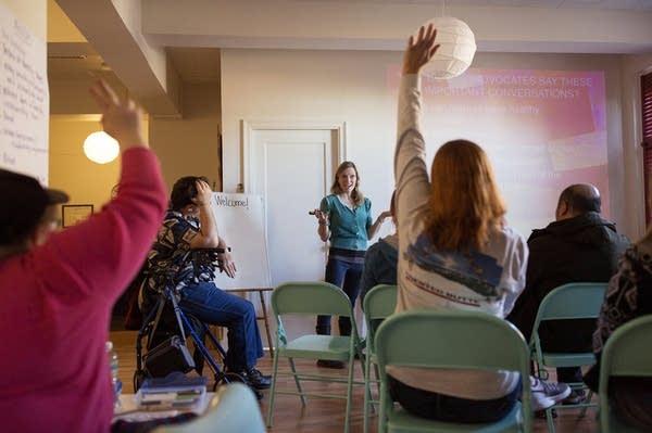 Katy Park teaches a class on healthy sexuality