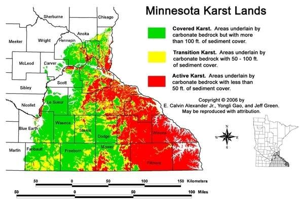 Map: Minnesota karst lands