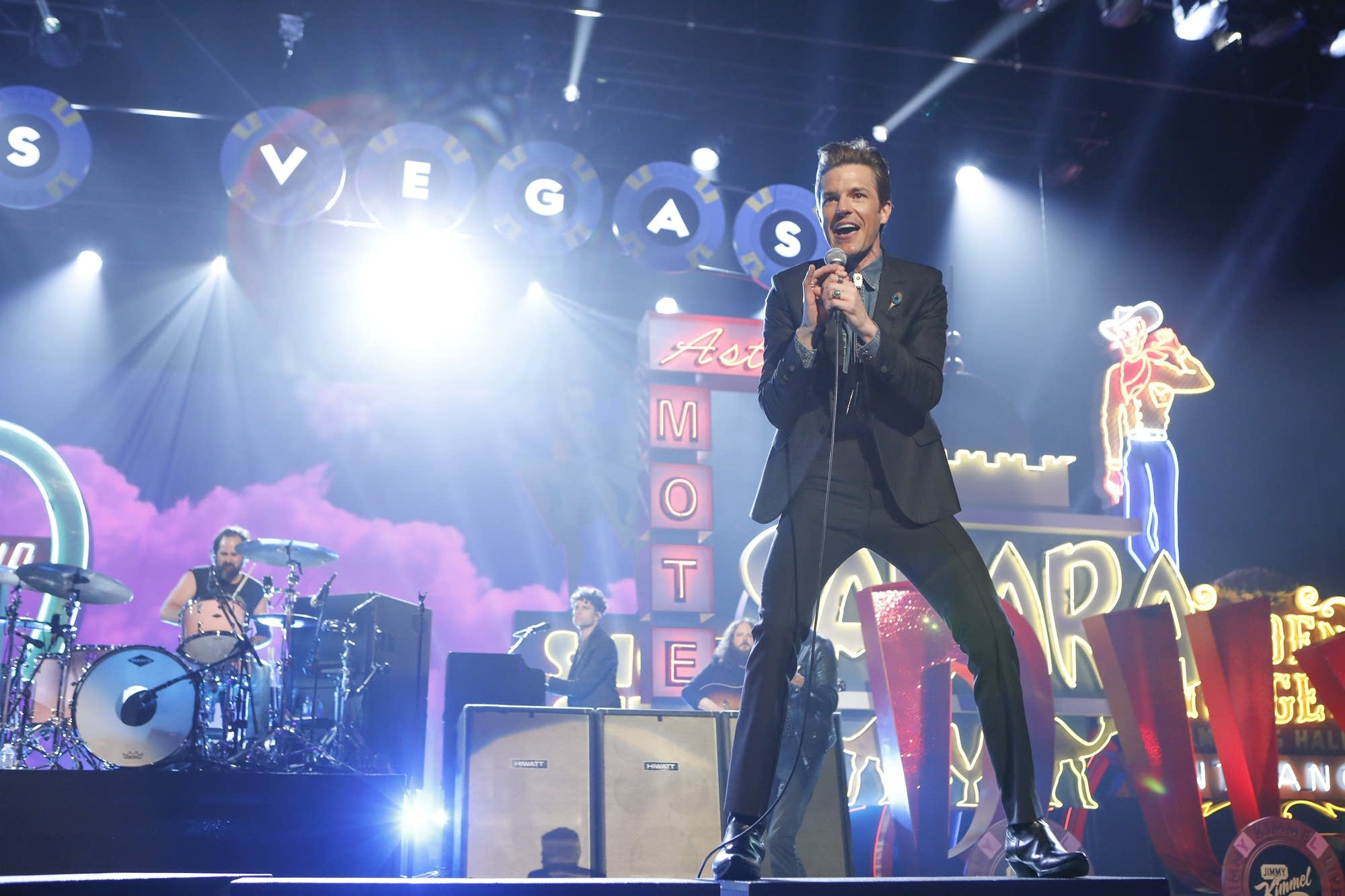 The Killers perform on 'Jimmy Kimmel Live!' on Monday, April 1