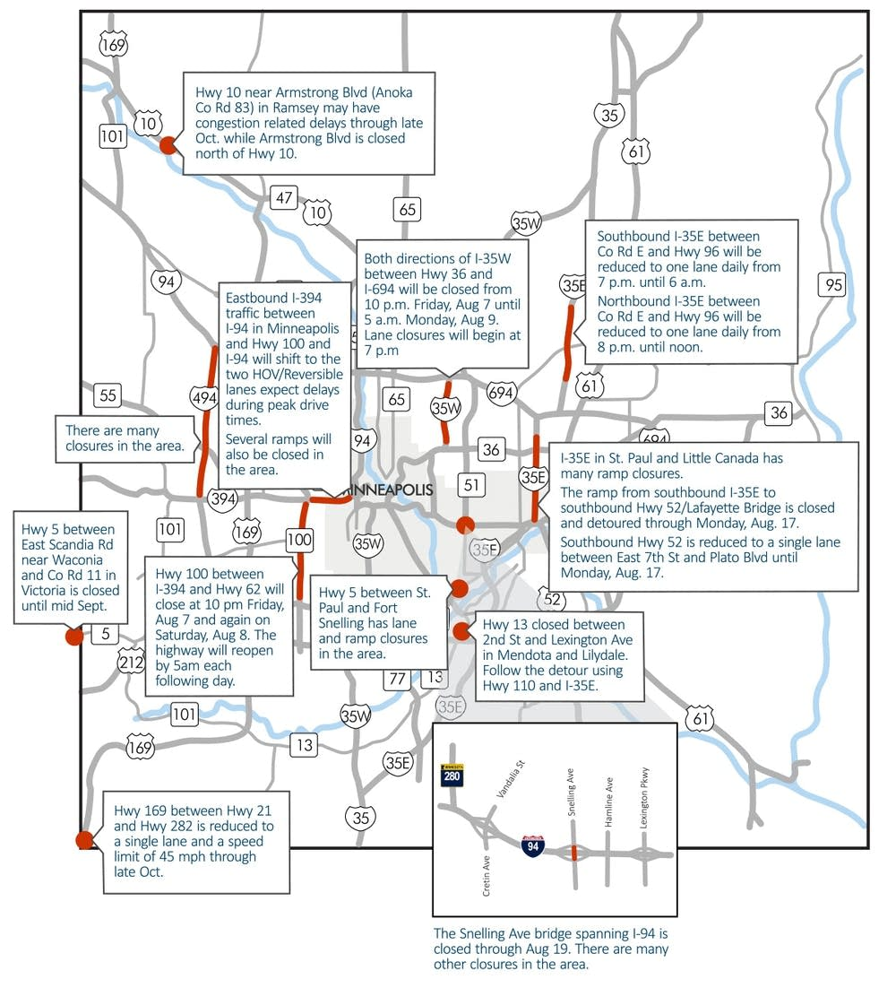 I35W closure tops list of Twin Cities weekend traffic woes – Mn Dot Travel Map