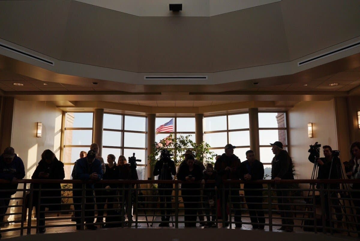 The Barron County Justice Center is filled with community members.