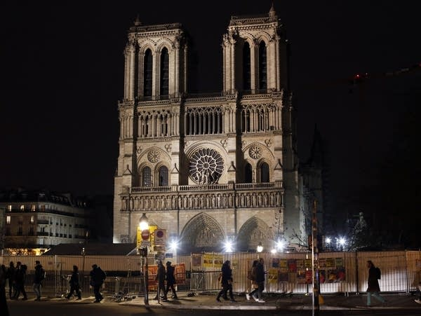 The fire-damaged Notre Dame Cathedral