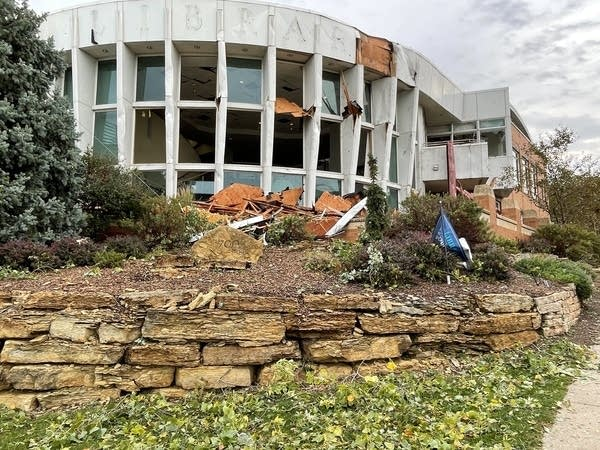 Storm damage at a library.