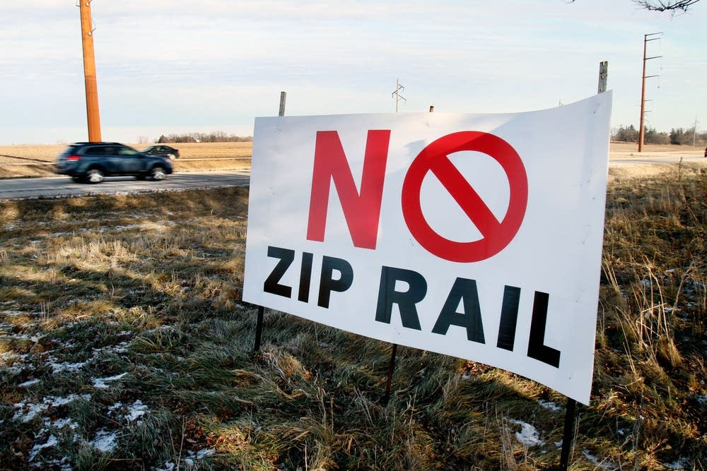 Sign along Hwy. 52 opposes high speed rail line.