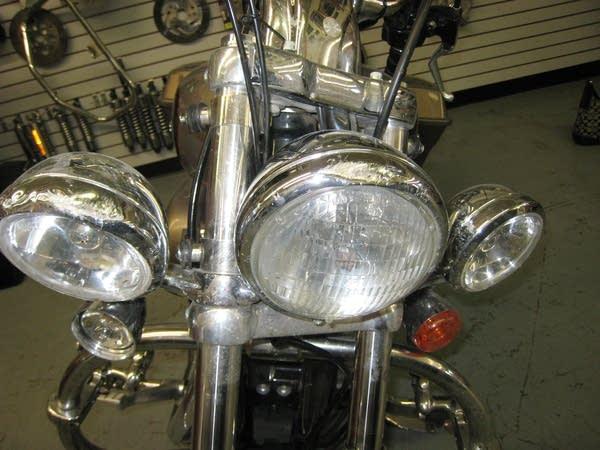 Damaged motorcycle