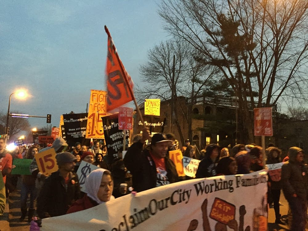Demonstrators march