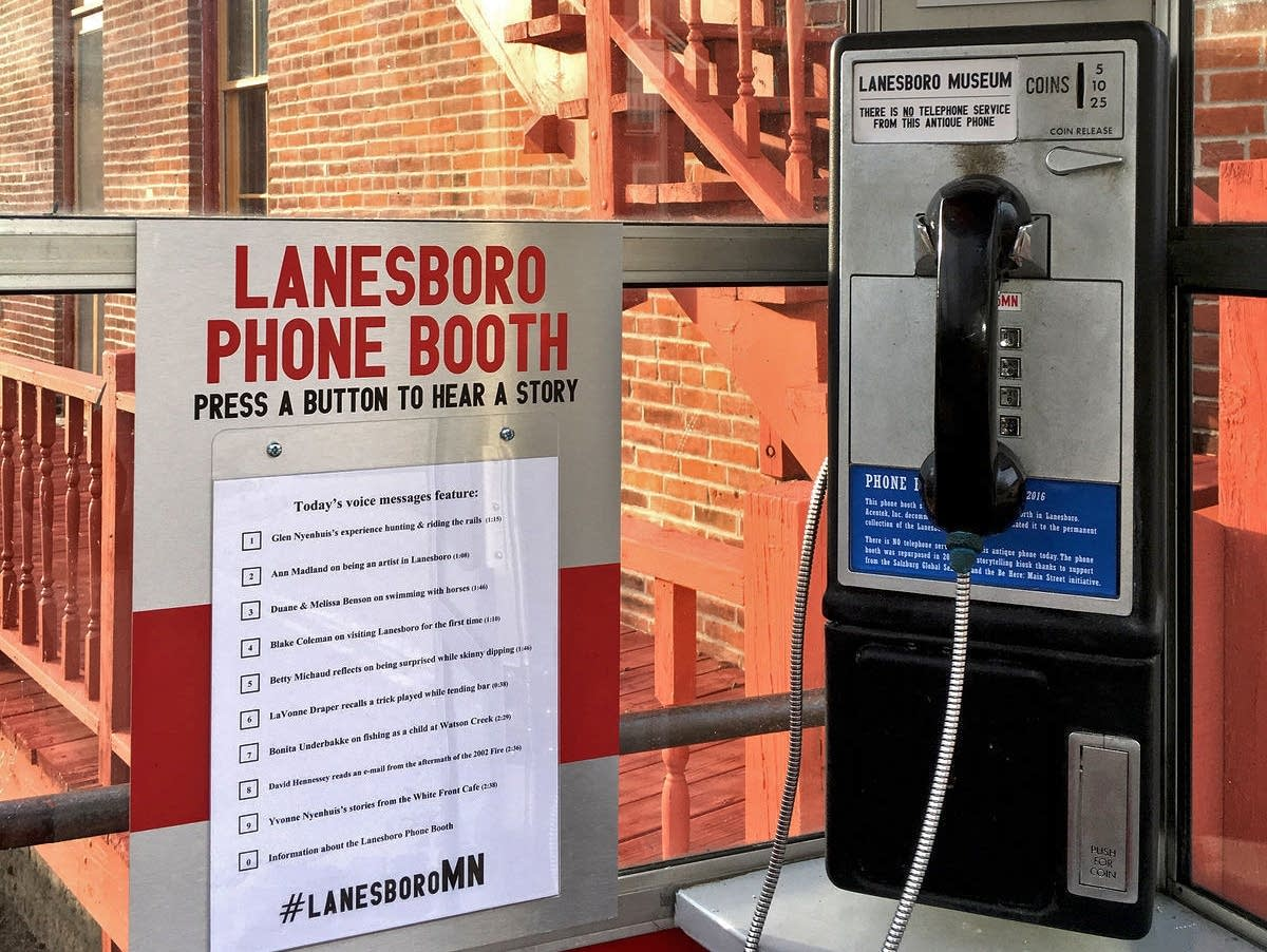 A phone booth outside the museum lets people listen to oral history.