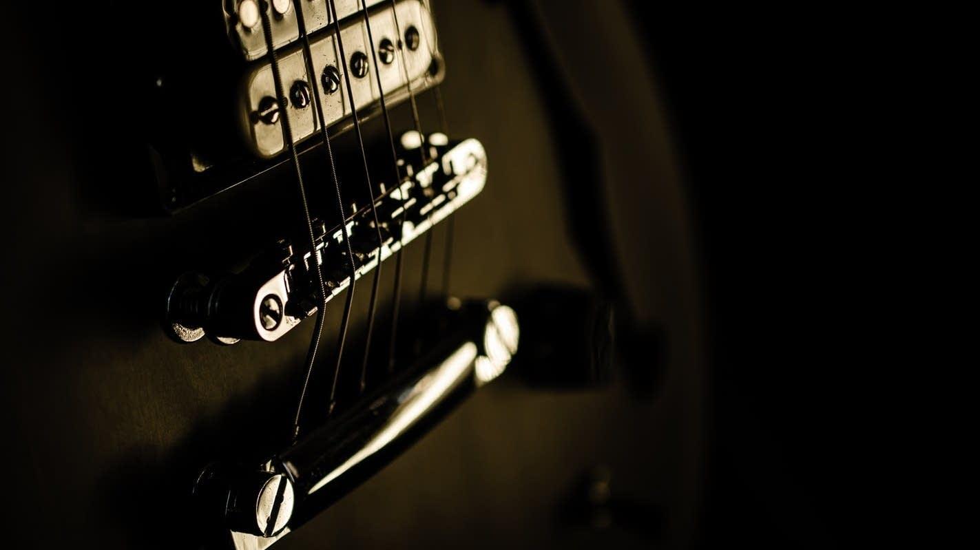 Electric guitar up close.