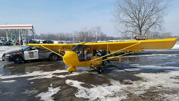 A small plane made an emergency landing Saturday in Stacy, Minn.