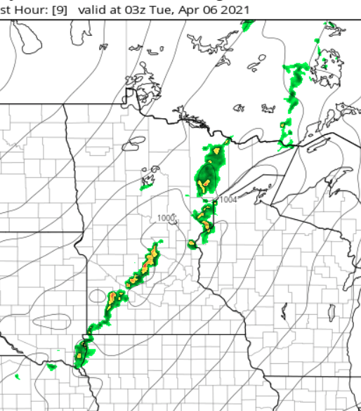 NOAA HRRR model at 10 pm Monday evening