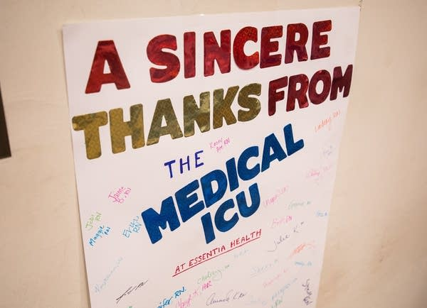 A poster that reads A sincere thanks from the medical icu