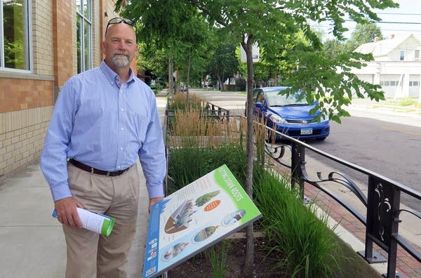 Mark Doneux next to stormwater planters