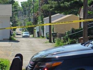 Shooting scene in St. Paul alley.