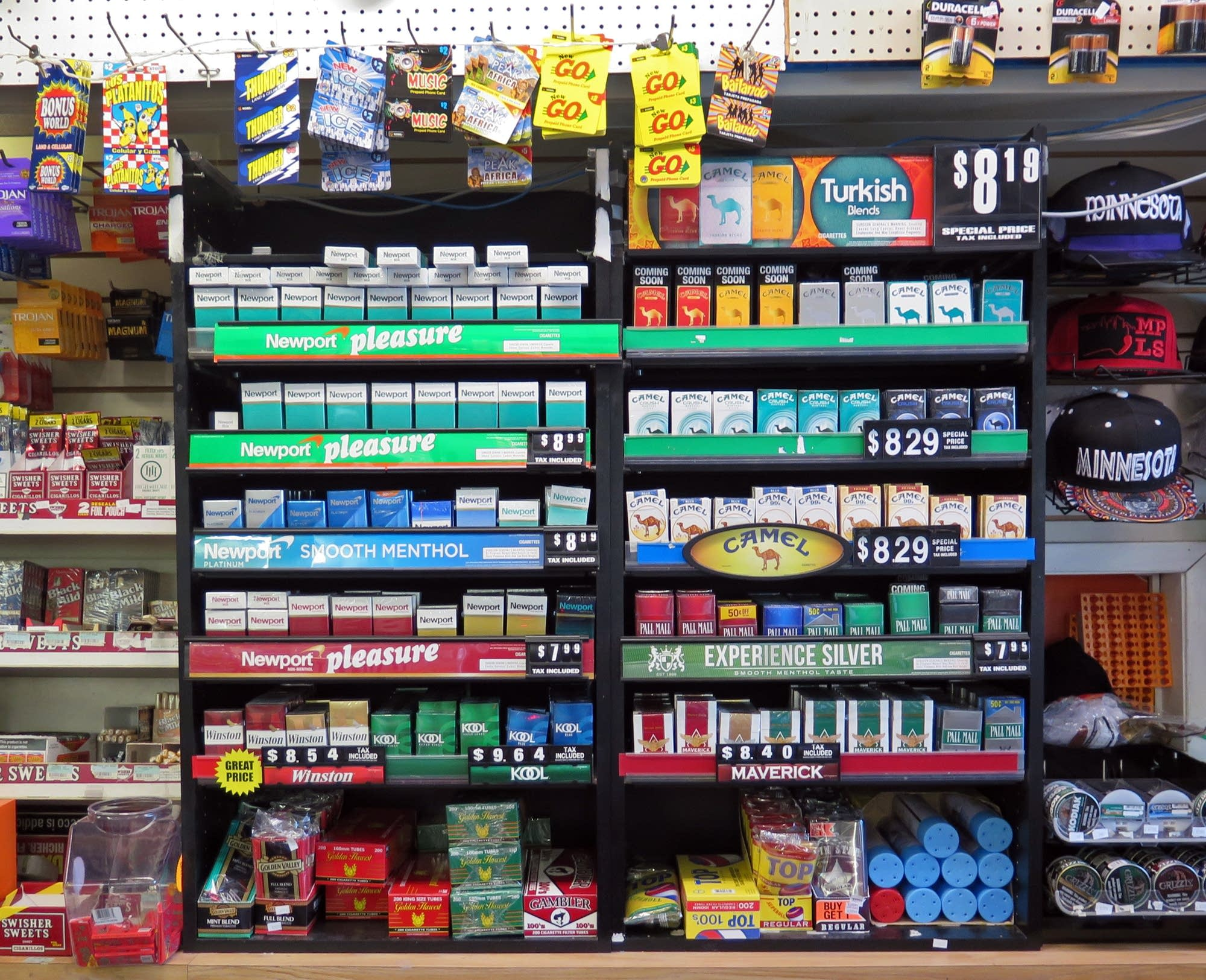 Some of the many menthol tobacco products sold at the Penwood Market.