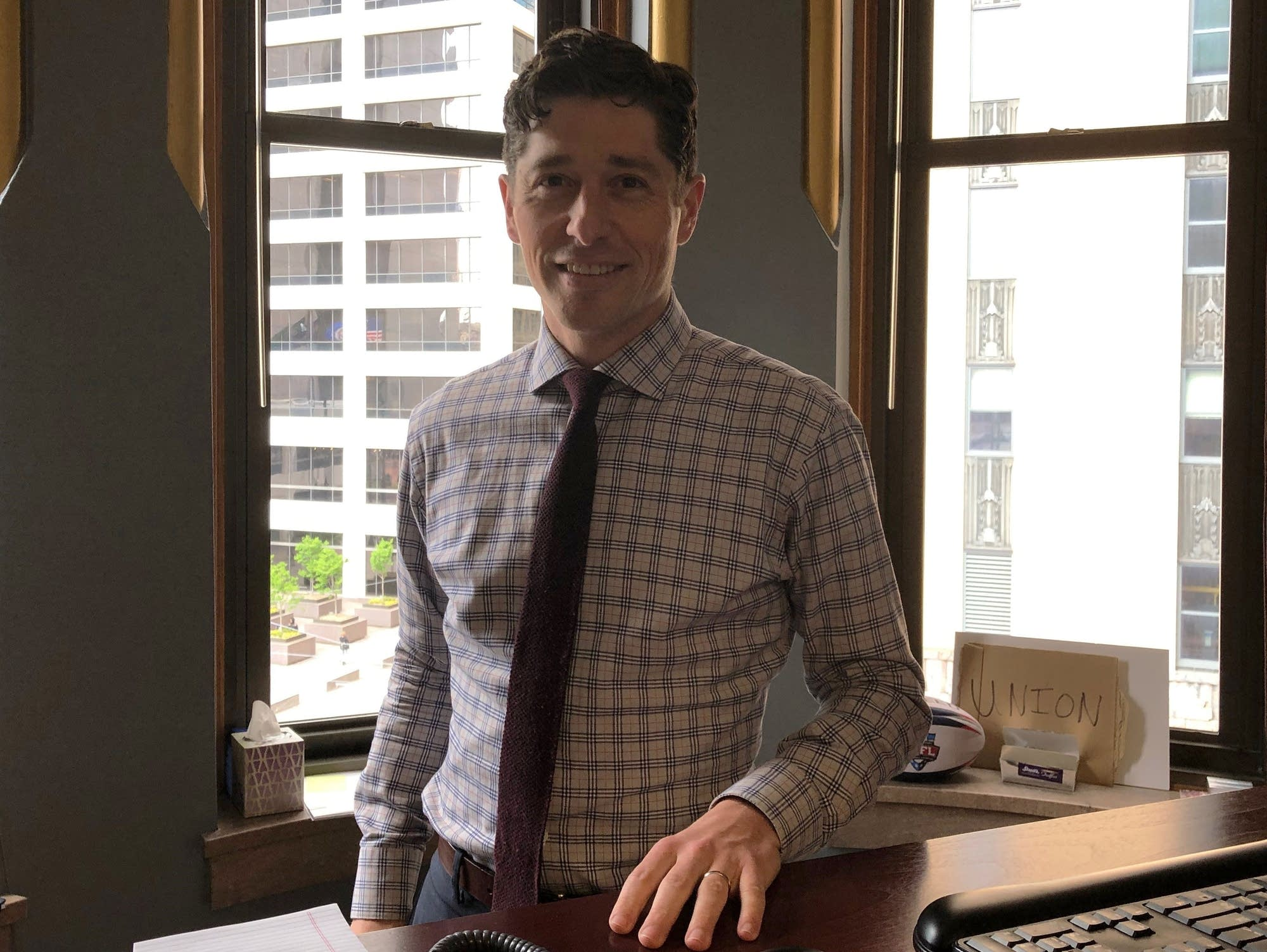 Minneapolis Mayor Jacob Frey in the City Hall office.