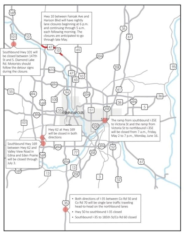 Crosstown other main roads to close this weekend – Mn Dot Travel Map