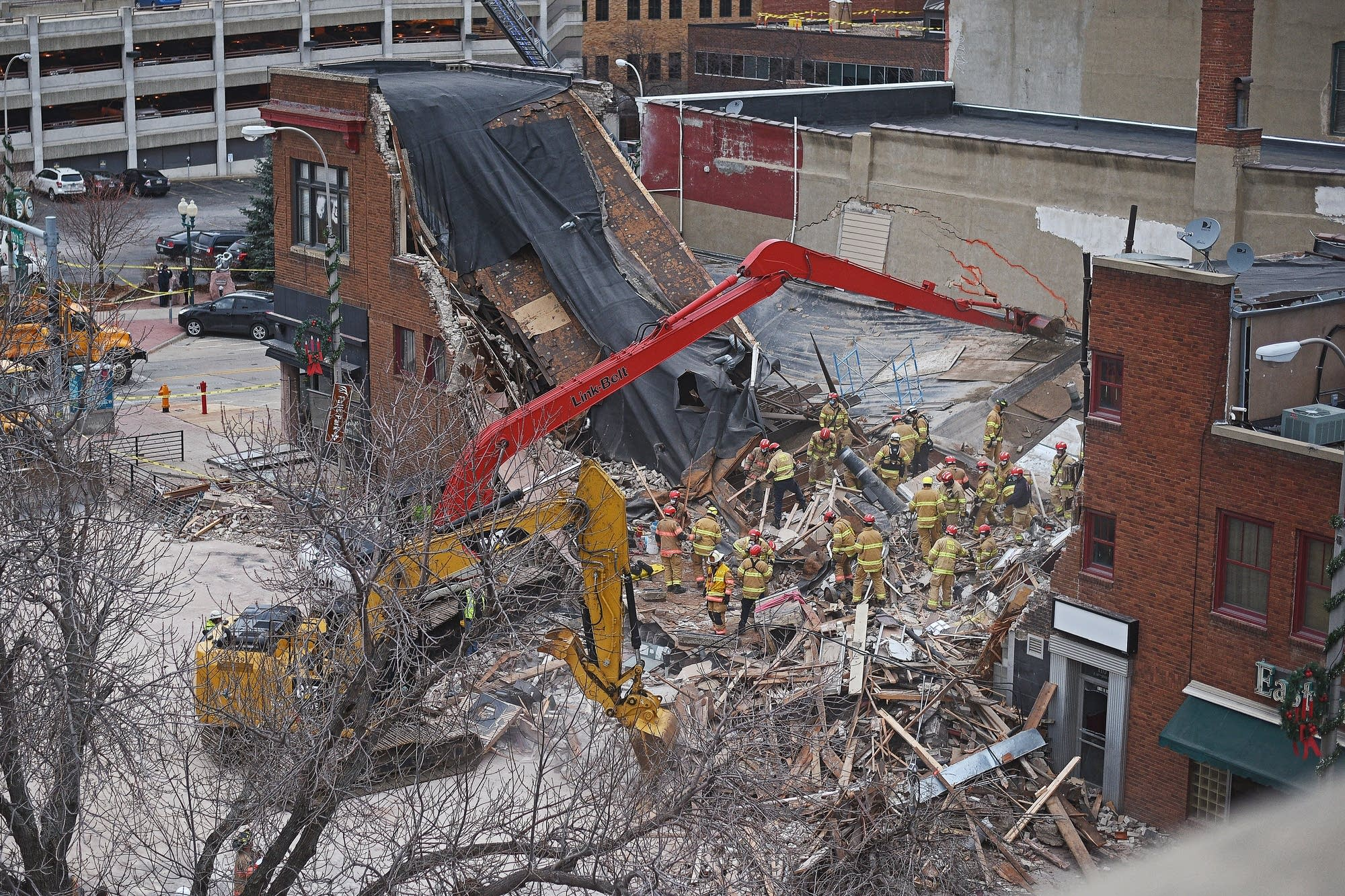 Emergency personnel on scene after the collapse.