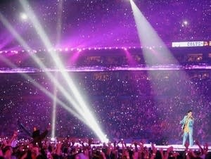 Prince performs during halftime at Super Bowl XLI