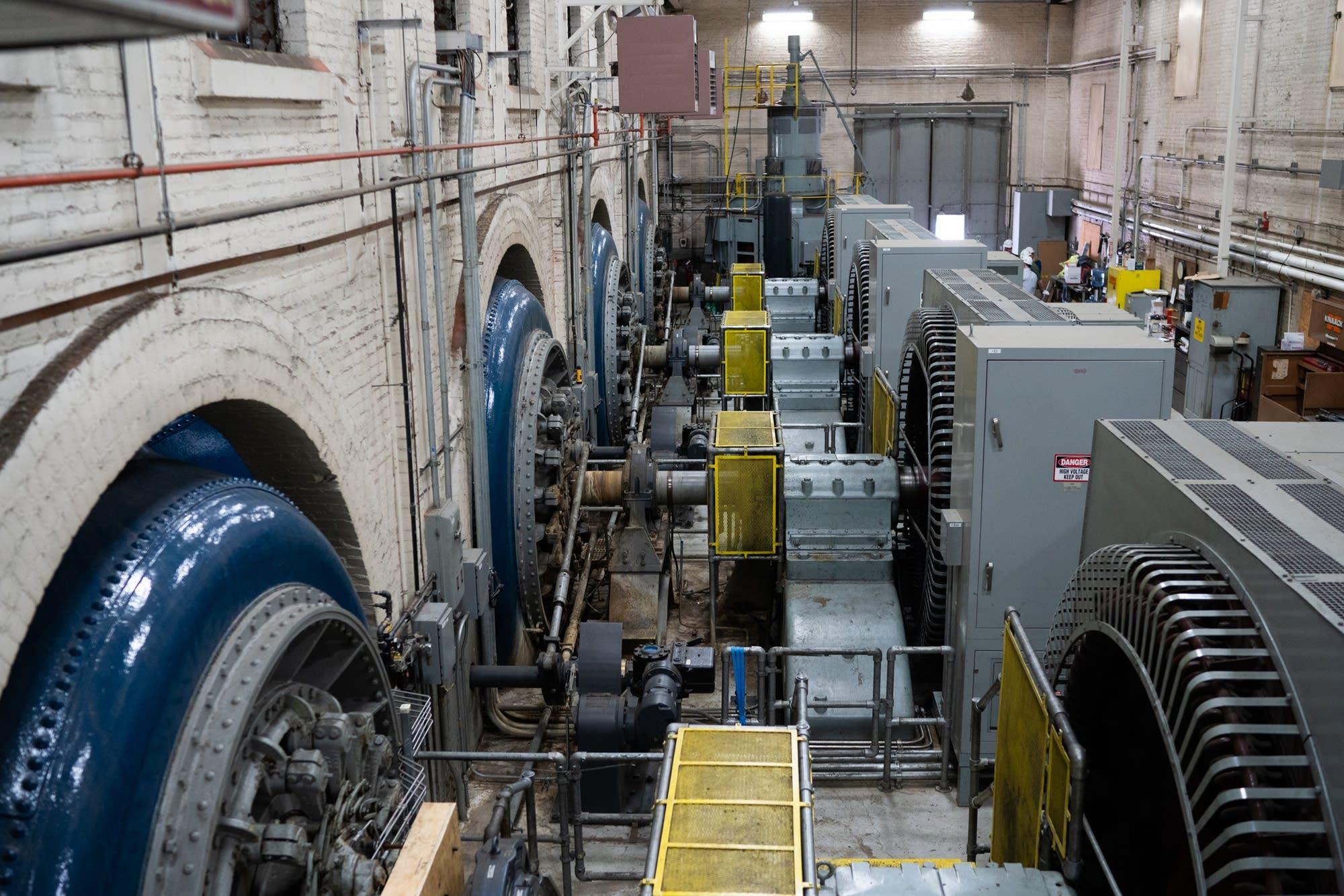 Five turbines spin inside the Hennepin Island Powerhouse.