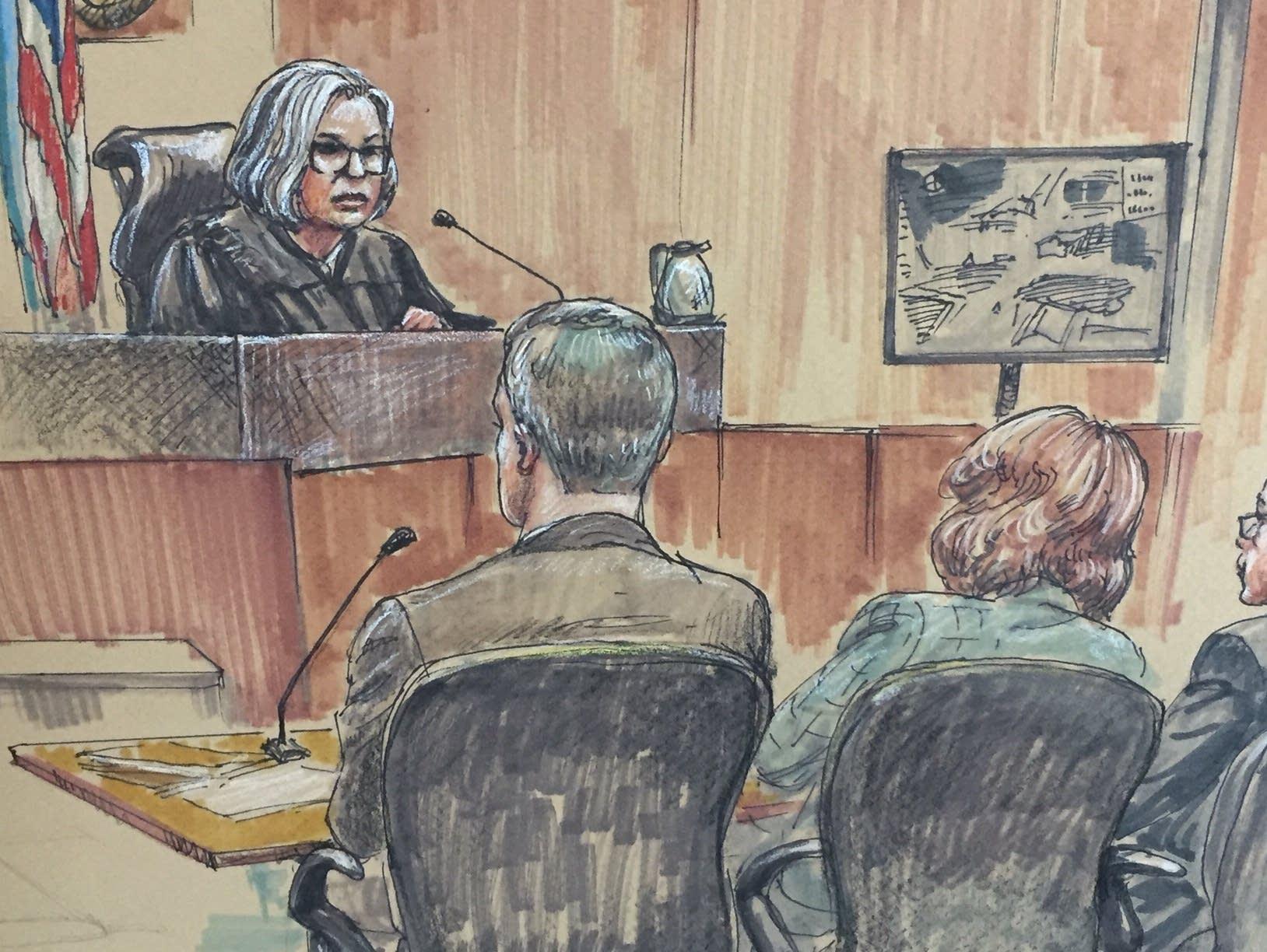 Inside the courtroom at Mohamed Noor's trial on April 2, 2019.