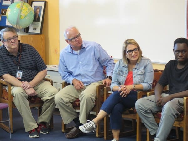 Tim Walz and running mate Peggy Flanagan at a school.