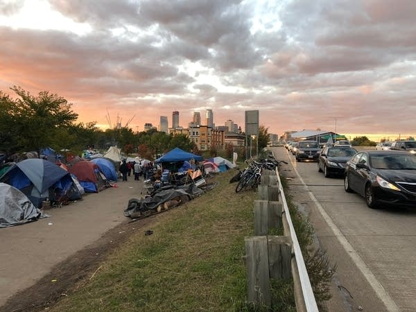 Native American homeless encampment in Minneapolis