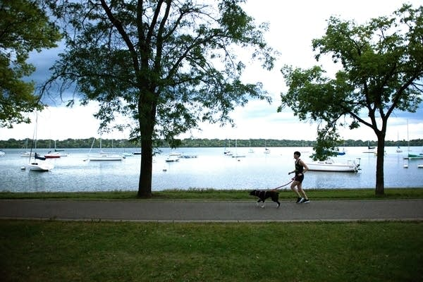 Brady Gervais runs around Lake Harriet.