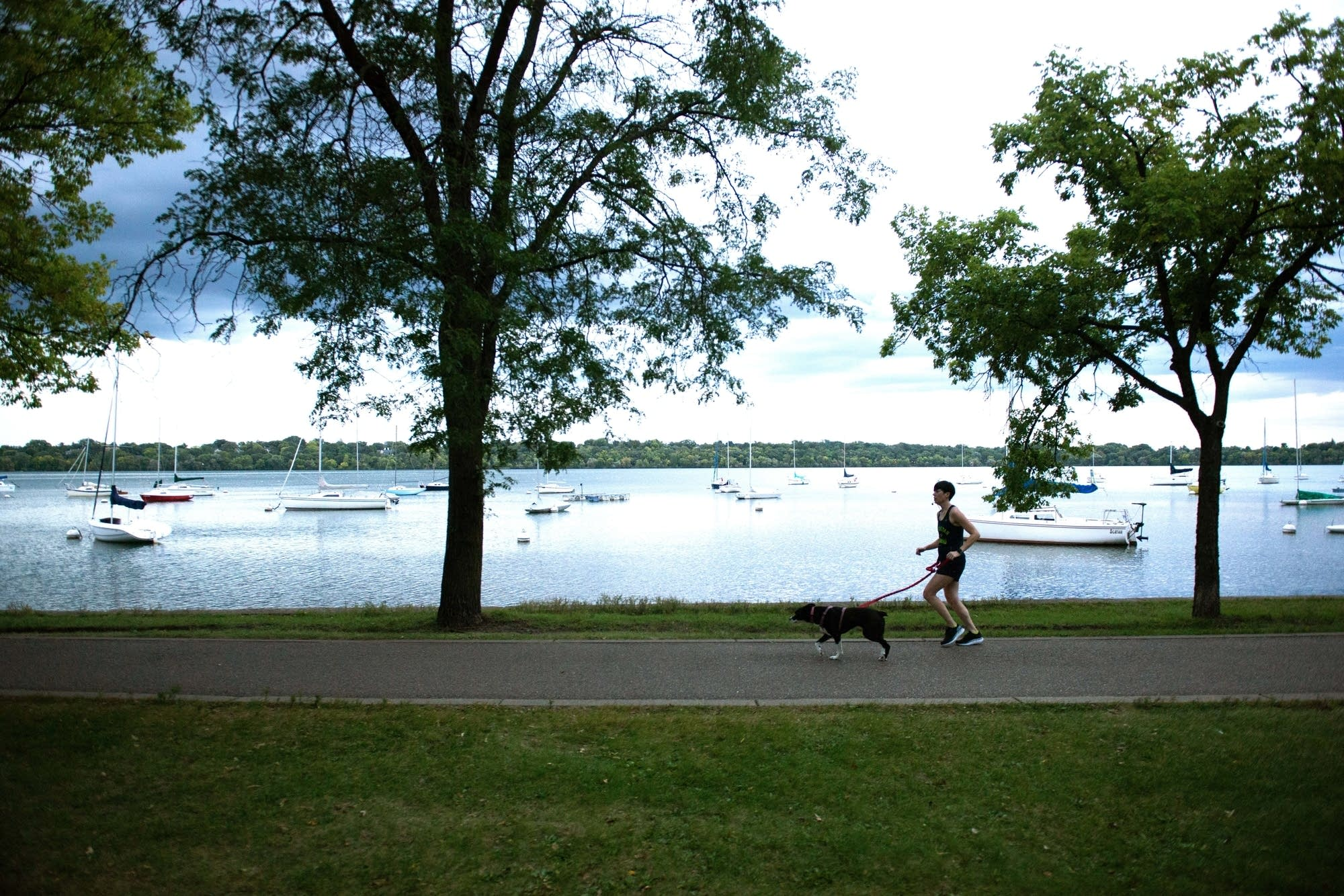 Brady Gervais runs around Lake Harriet.