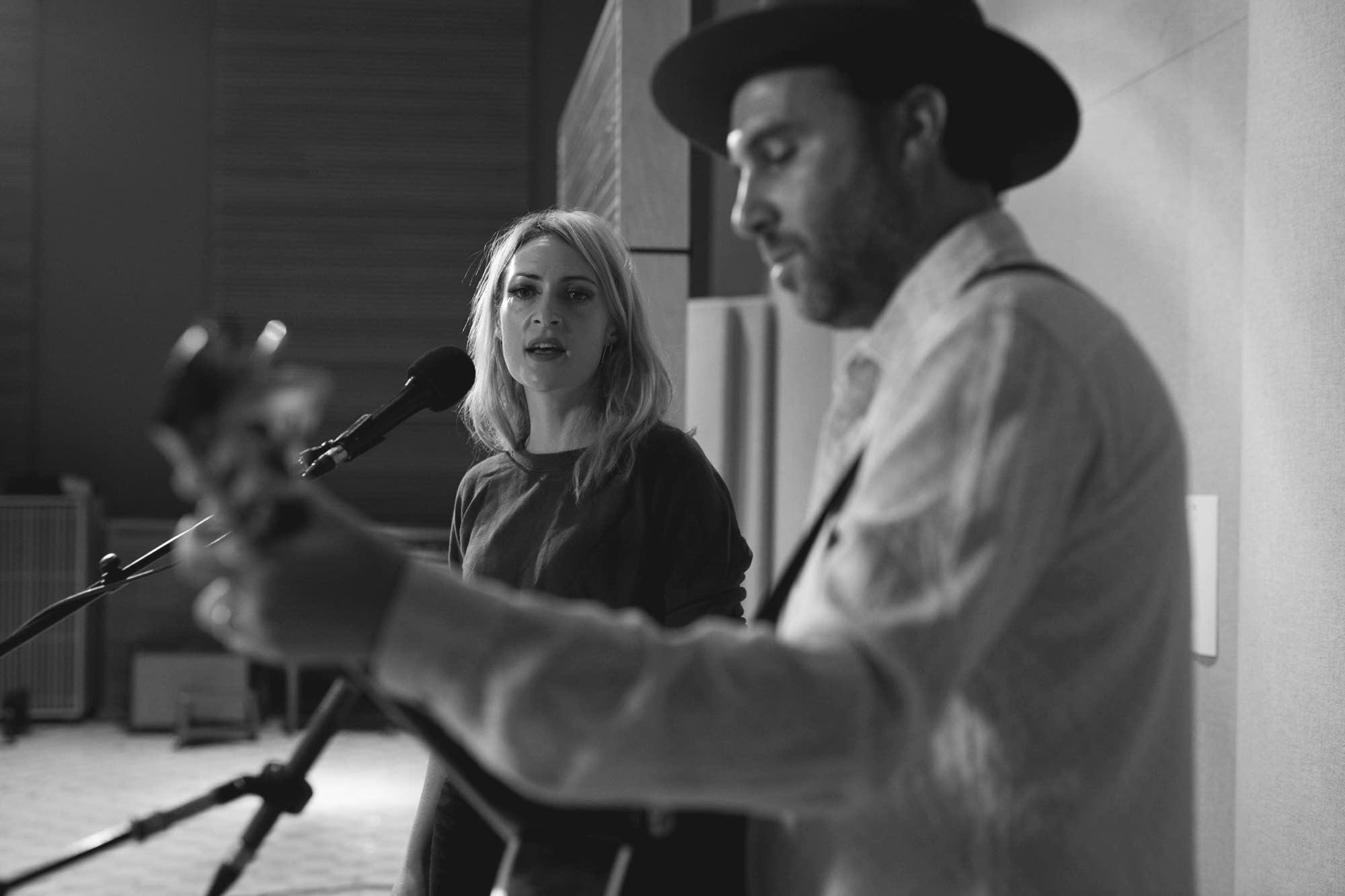Emily Haines and Jimmy Shaw of Metric in The Current studio