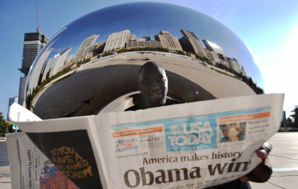 James Wendo from Texas reads a newspaper