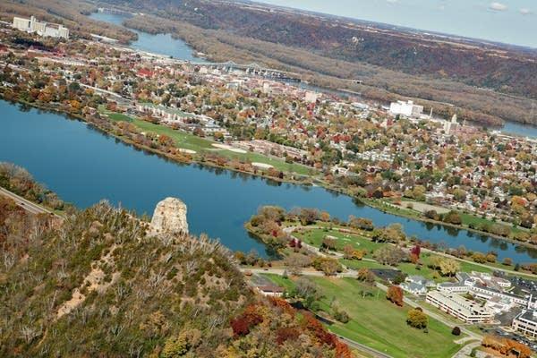 An aerial photo of Winona, Minn.