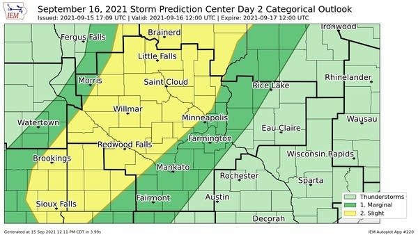 Severe weather risk areas Thursday