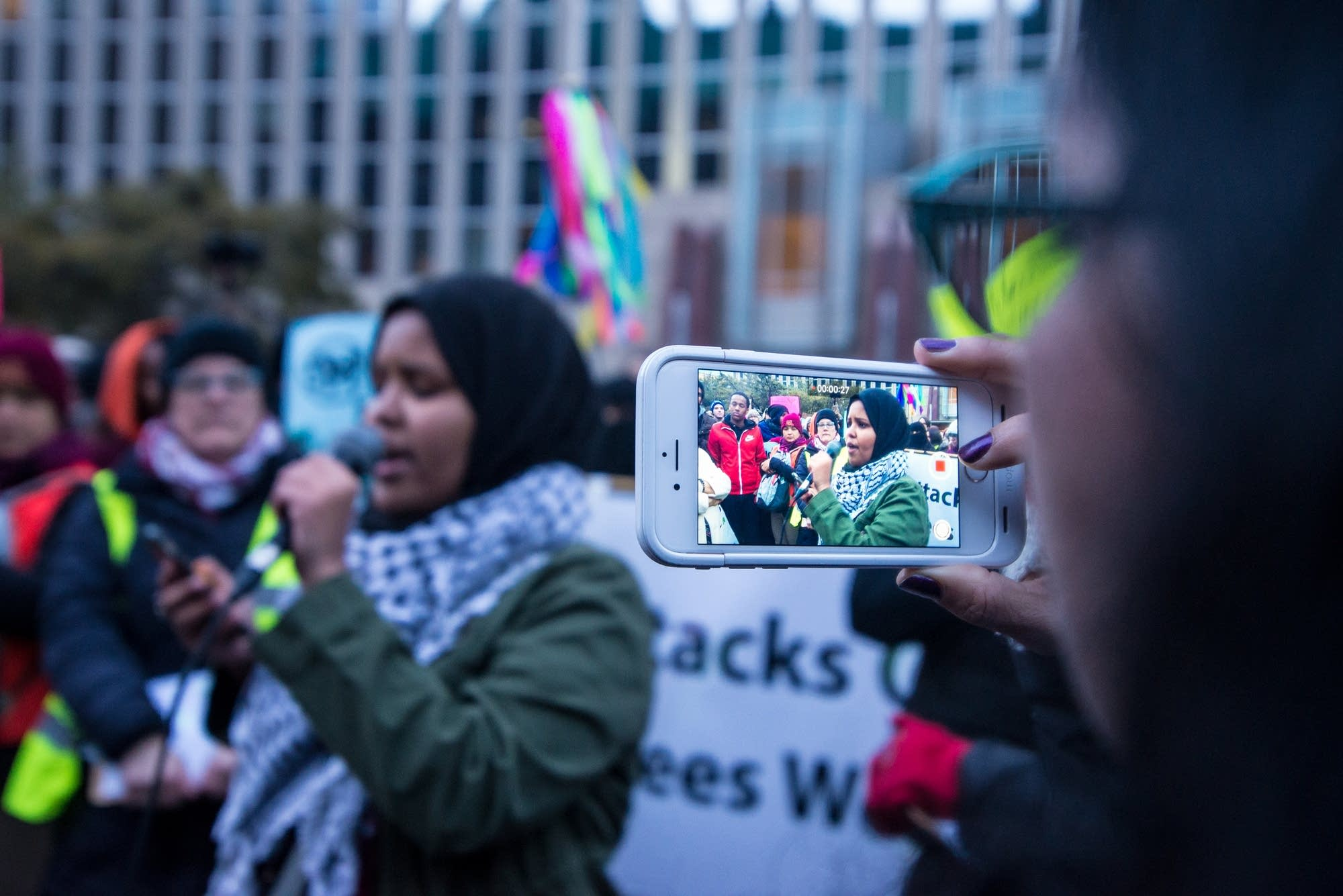 Salma Ahmed speaks at a protest