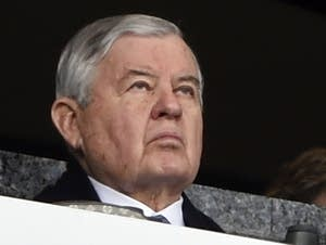 Carolina Panthers owner Jerry Richardson watches the game Sunday.