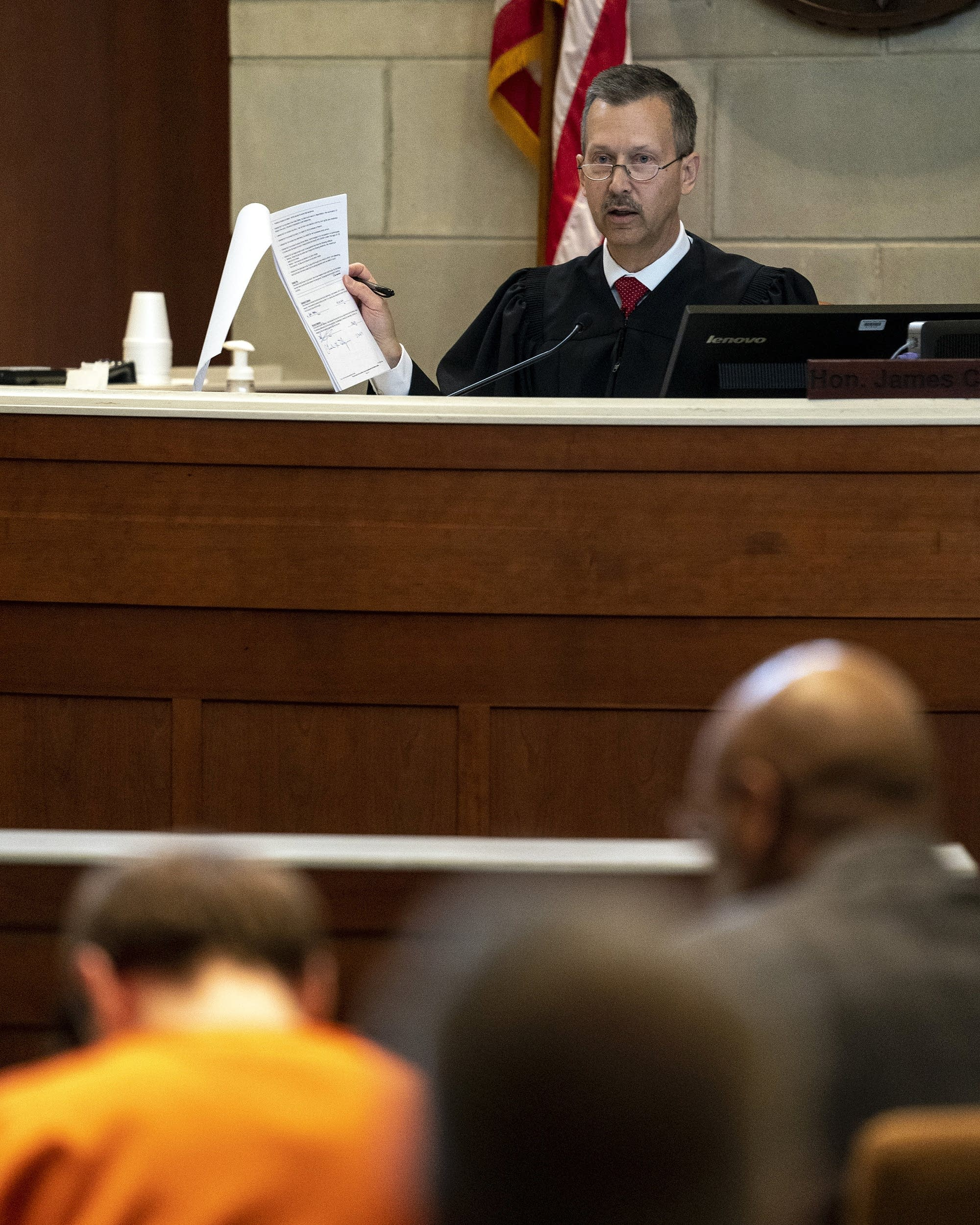 Barron County Judge James Babler speaks to Jake Patterson.