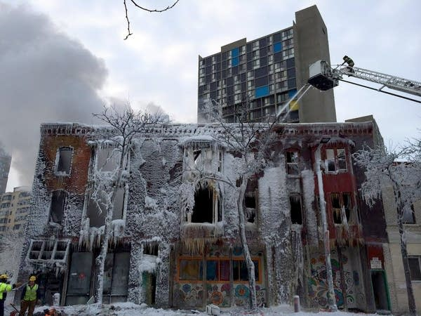 Ice-encrusted building