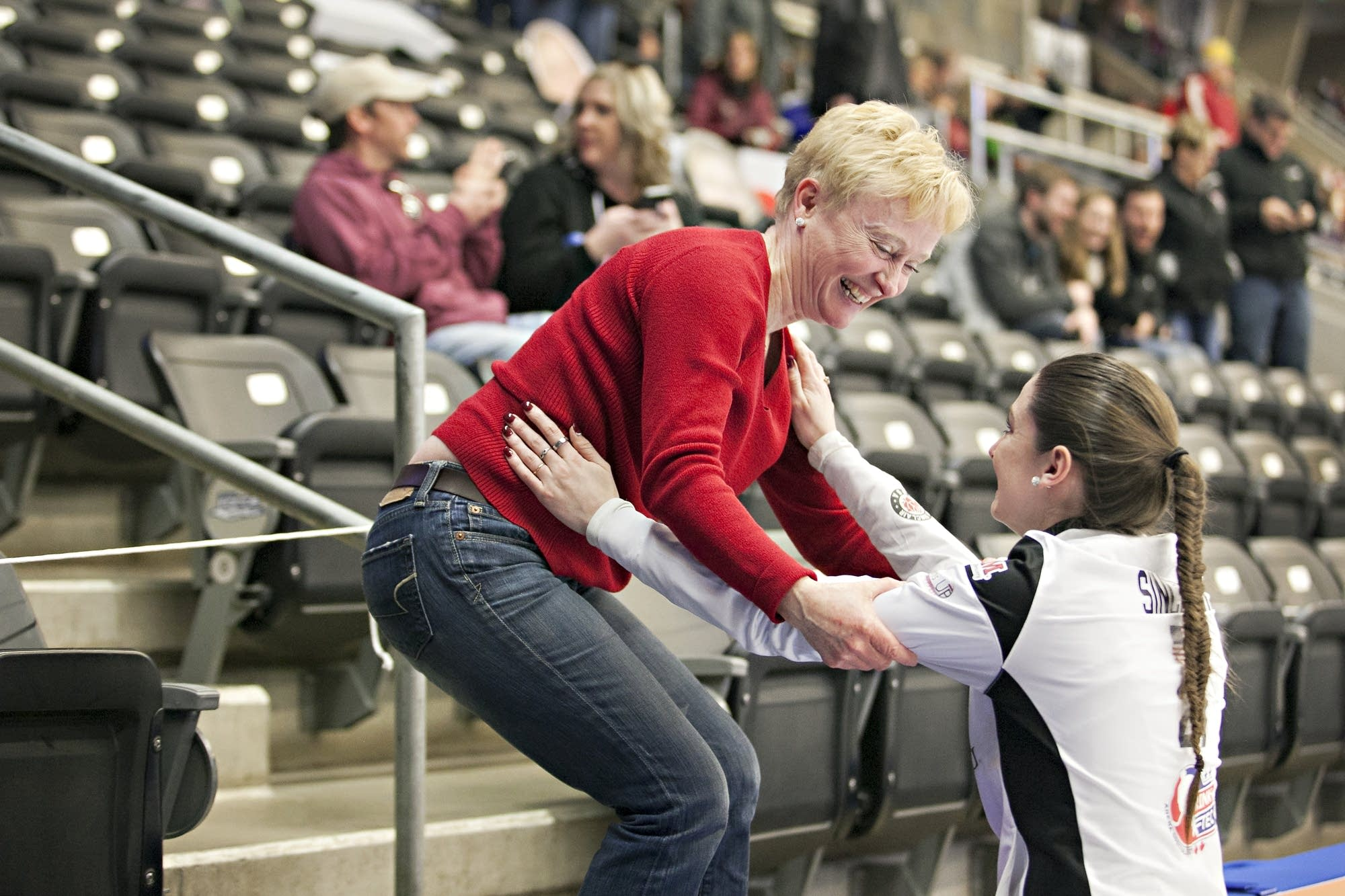 Skip Jamie Sinclair celebrates her second national title with her mom.