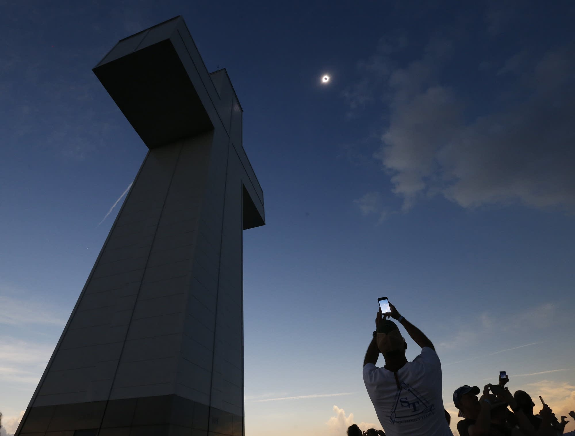 A total eclipse is seen above the Bald Knob Cross of Peace in Illinois.