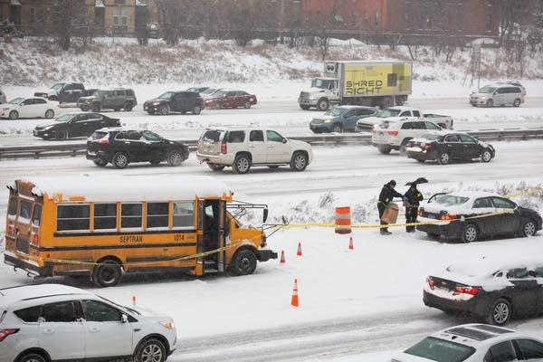 A school bus driver was shot along an interstate in Minneapolis.