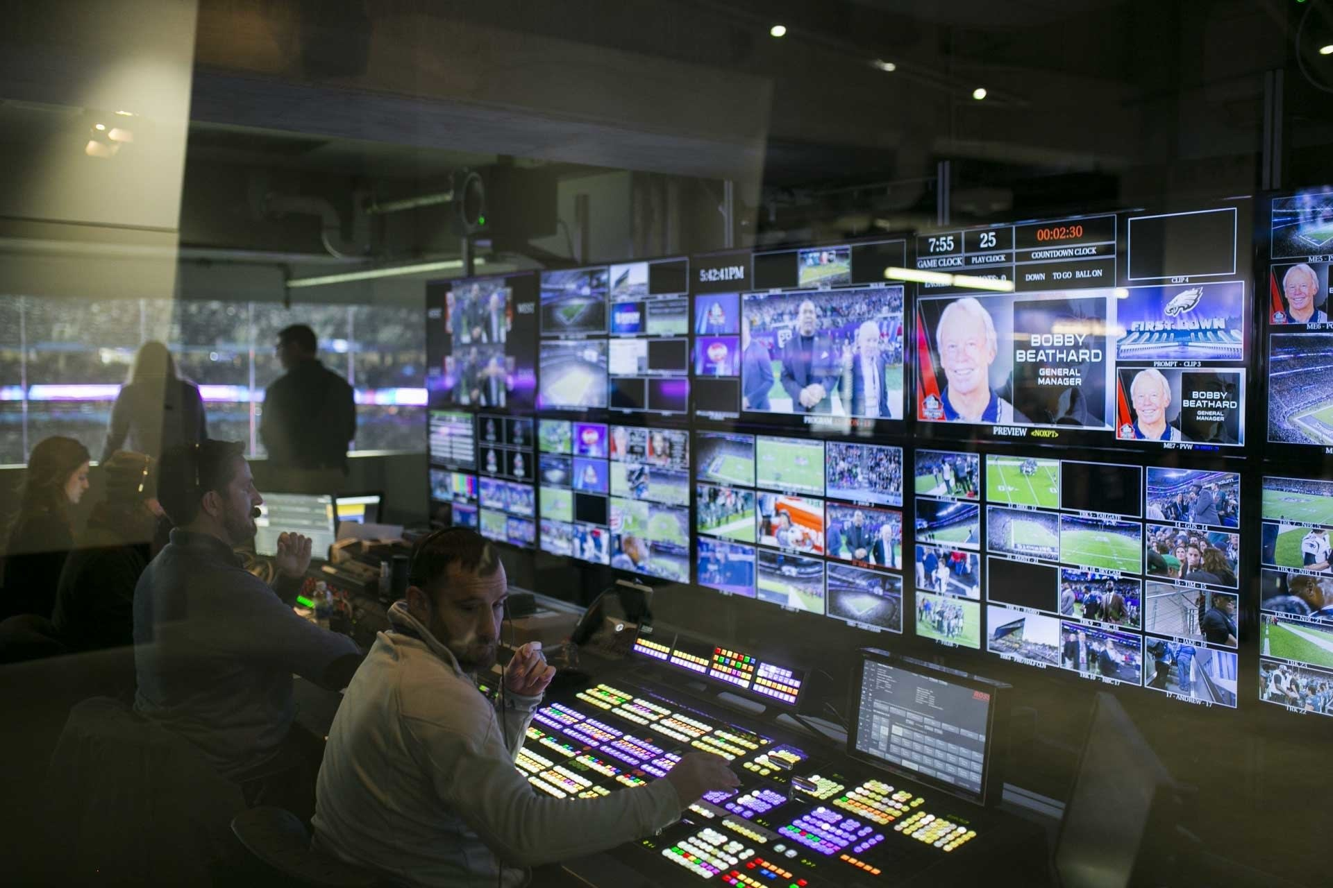 Every camera angle is displayed on monitors inside of a control room.