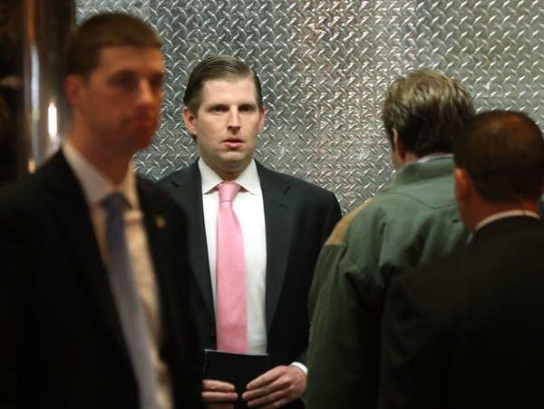 Eric Trump arrives at Trump Tower.
