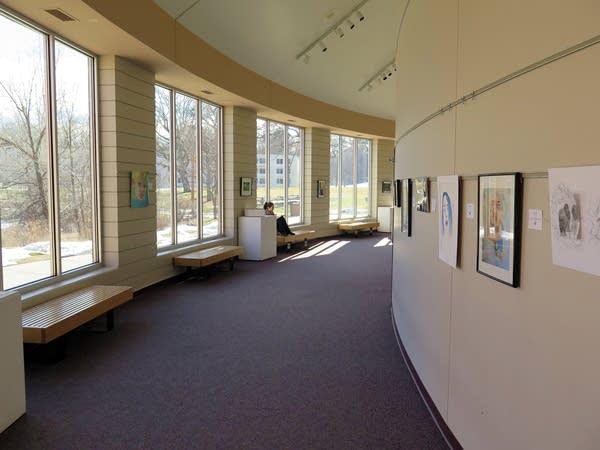 Student art work is on display.