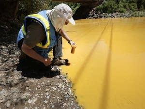 Dan Bender takes a water sample.