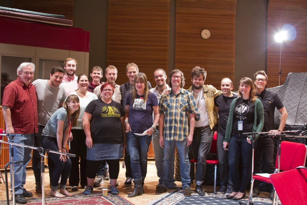 The Current staff with Mumford & Sons