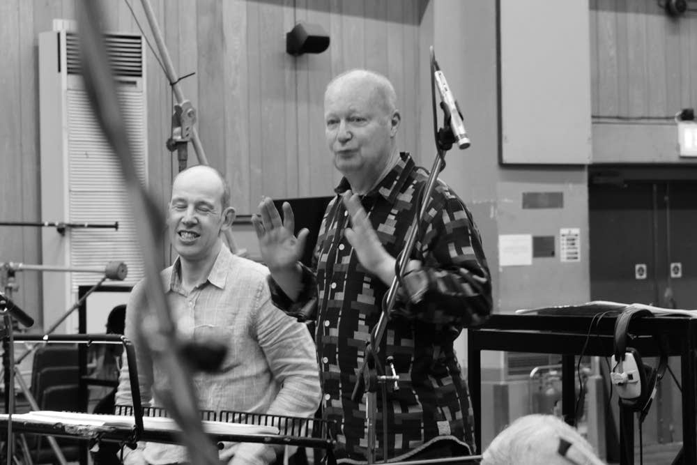 John Lunn addresses musicians at Abbey Road