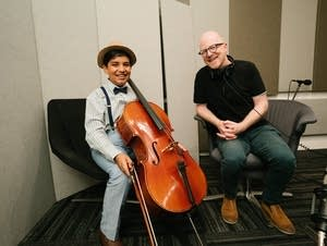Cellist Jivan Ramesh with Fred Child