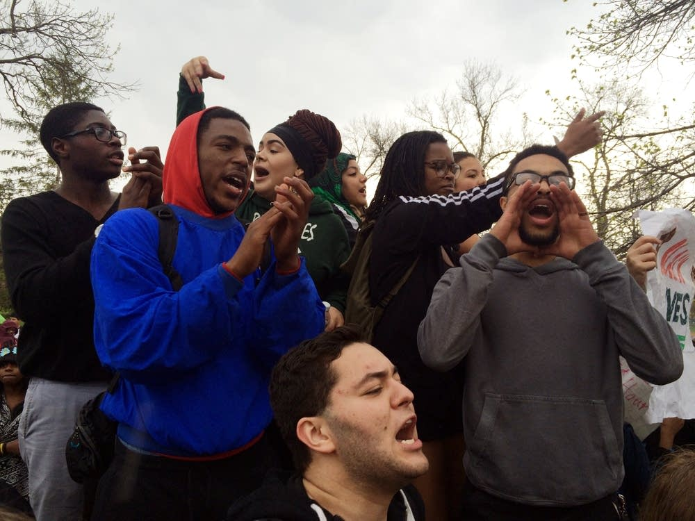High school students joined others rallying.