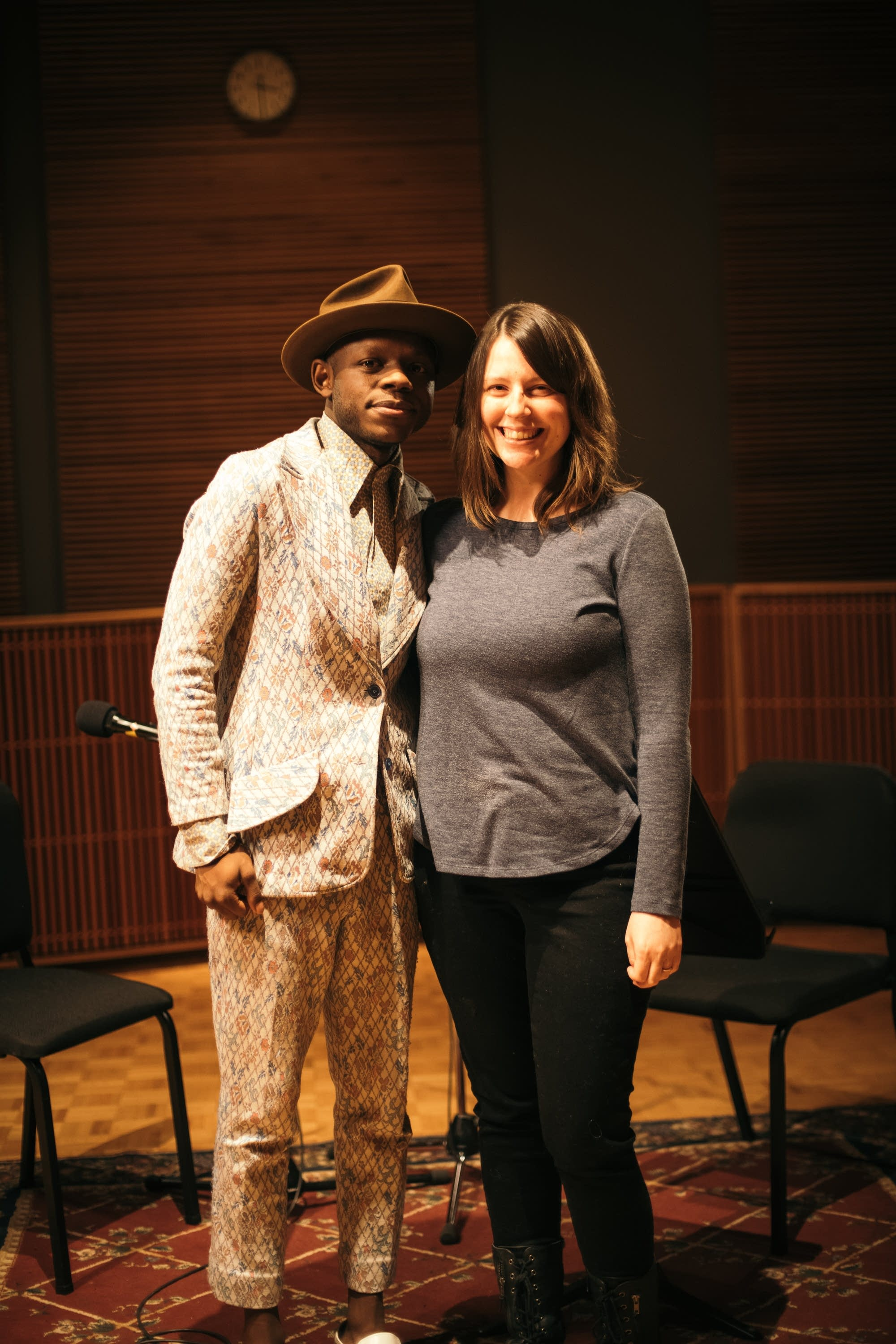 J.S. Ondara and host Andrea Swensson in The Current studio.